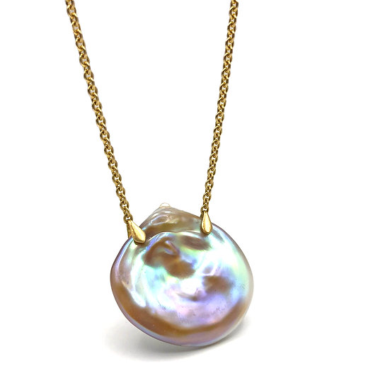 Freshwater Pink Pearl Coin Necklace in 18k Recycled Yellow Gold, Modern Pearl Necklace