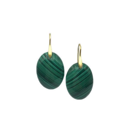 Malachite Cabochon Oval Earrings | 18k Yellow Gold