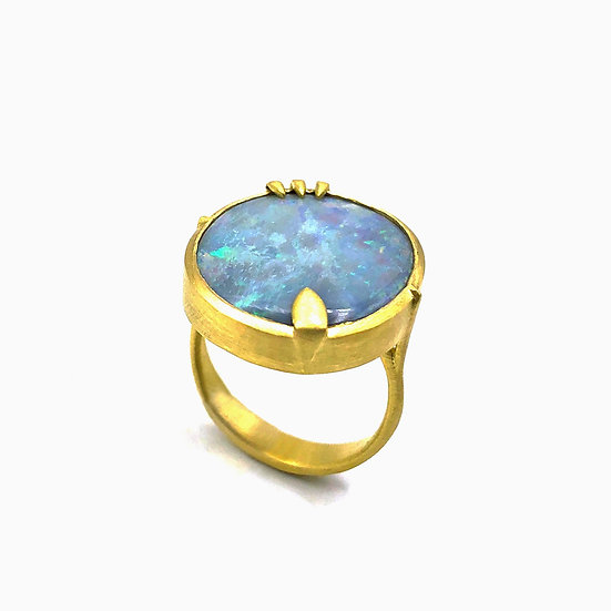 Large Blue Opal Amazon Ring | 18k Yellow Gold