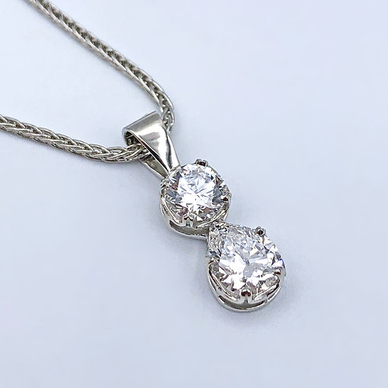 Custom Diamond Pendant in Platinum with Heirloom Diamonds, Pear and Round Diamond Pendant