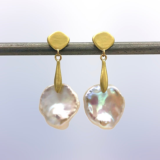 Keshi Pearl Dangle Earring | 18k Recycled Yellow Gold