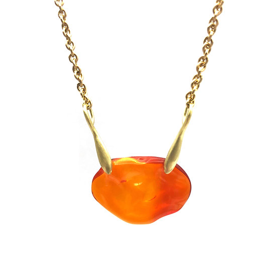 Fire Opal Necklace in 18k Recycled Yellow Gold