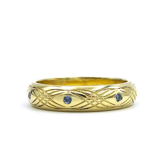 Bespoke Montana Sapphire Unisex Wedding Band in 18k Recycled Yellow Gold with Engraving
