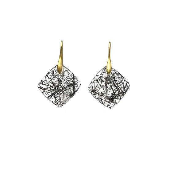 Square Drop Tourmalinated Quartz Earrings in 18k Yellow Gold