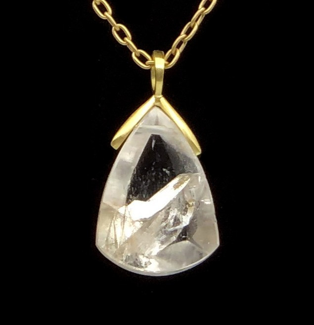 Phantom Quartz Teardrop Pendant | 18k Yellow Gold