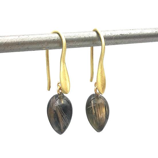 Hematite and Rutilated Quartz Teardrop Earrings | 18k Yellow Gold