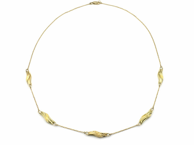 Gold Wave Station Necklace in 18k Recycled Yellow Gold 18 inches