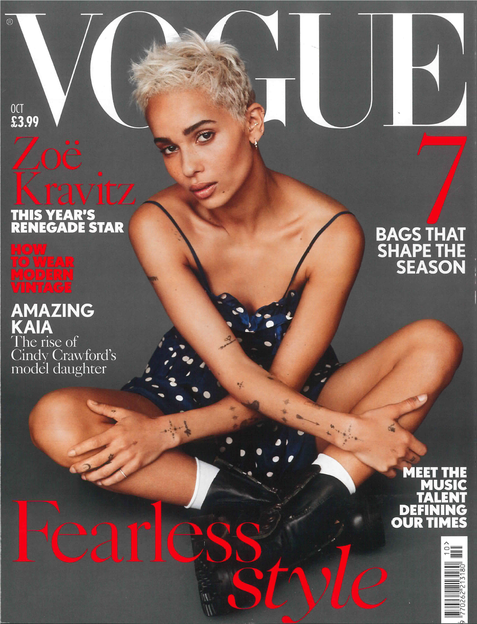 Vogue U.K. British Vogue October 2017 Cover Original Eve Jewelry Original Eve Designs