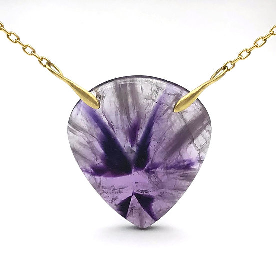 Natural Amethyst Necklace in 18k Recycled Yellow Gold 16 inches