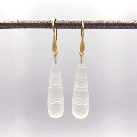 Matte Carved Rock Crystal Briolette Earrings | 18k Yellow Gold