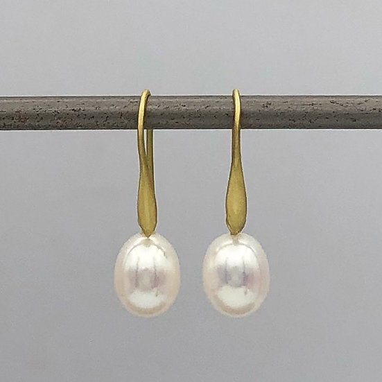 Oval Pearl Drop Earrings in 18k Recycled Yellow Gold