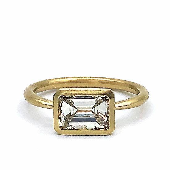 Heirloom Emerald Cut Diamond Ring with Bezel Set East-West Diamond
