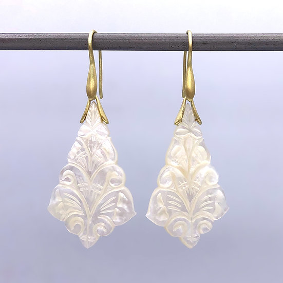 Carved Mother of Pearl Trapeze Earrings | 18k Yellow Gold