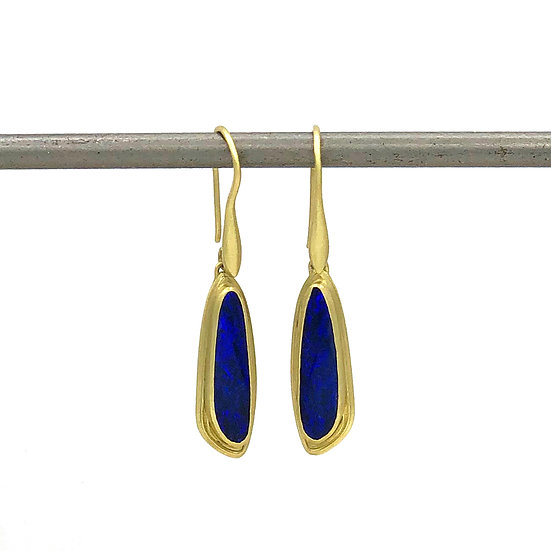 Azores Blue Opal Drop Earrings | 18k Gold