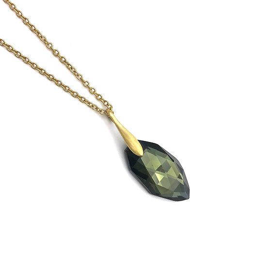 Hematite and Quartz Doublet Pendant | 18k Yellow Gold