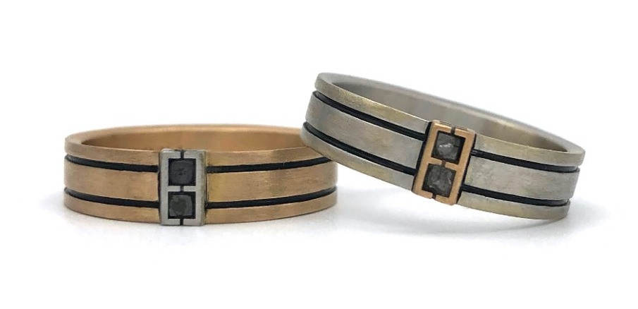 Custom Men's Wedding Bands in Rose Gold and White Gold by Original Eve Designs