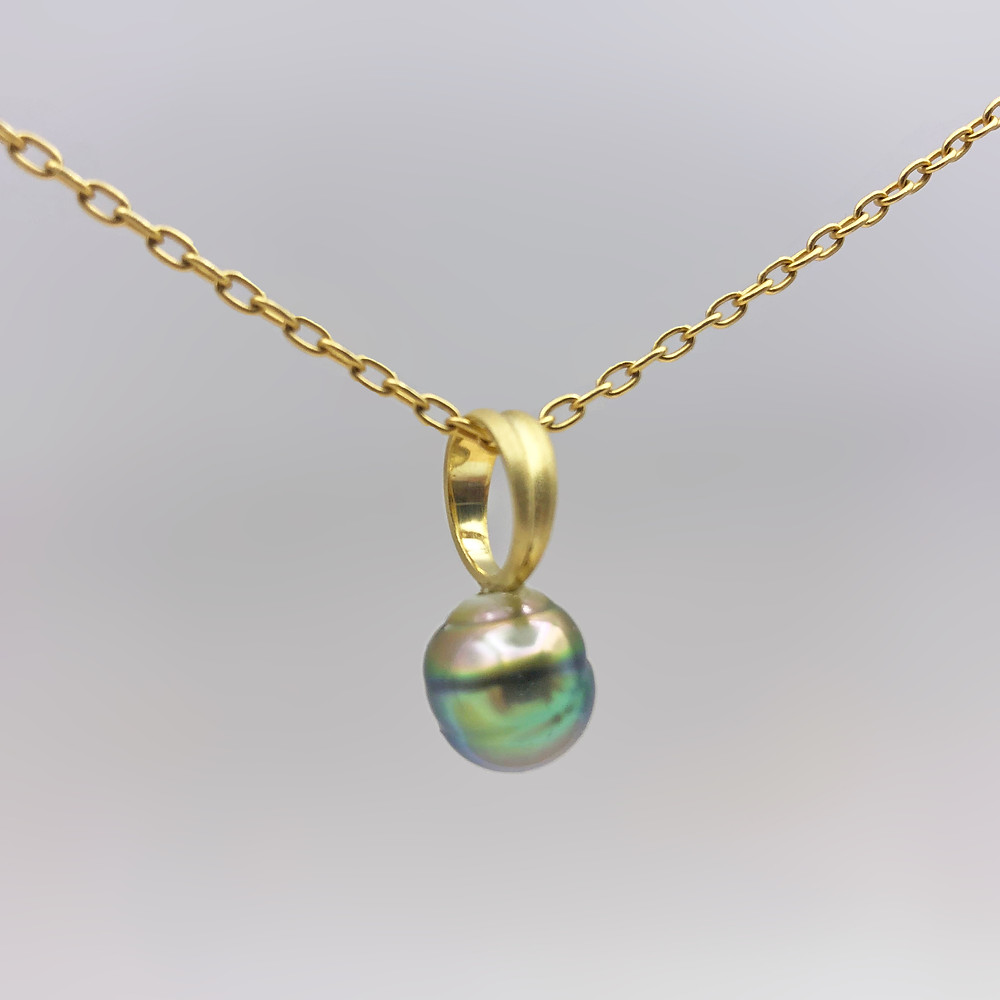 Green Asymmetrically Circled Tahitian Pearl Ring Pendant | 18k Yellow Gold