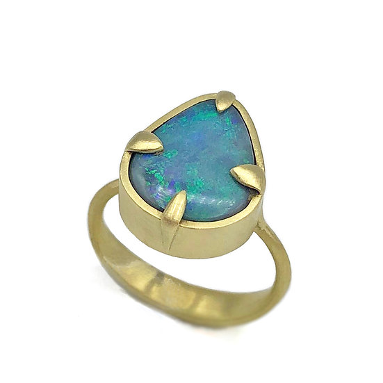Teal Pear-Shaped Australian Blue Opal Ring in 18k Recycled Yellow Gold