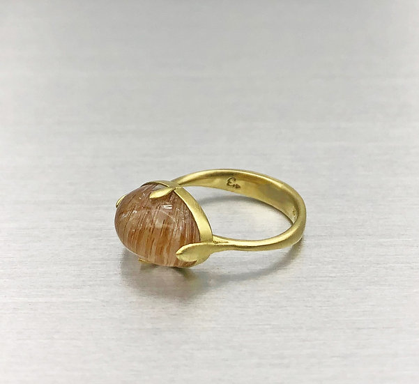 Cat's Eye Oval Gold Rutilated Quartz Amazon Ring in 18k Recycled Yellow Gold