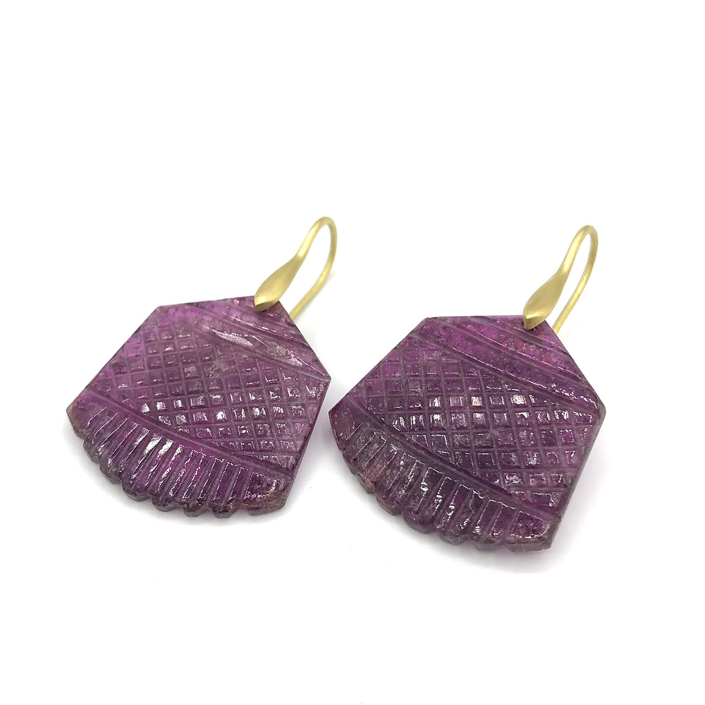 Carved Tourmaline Earrings in 18k Yellow Gold