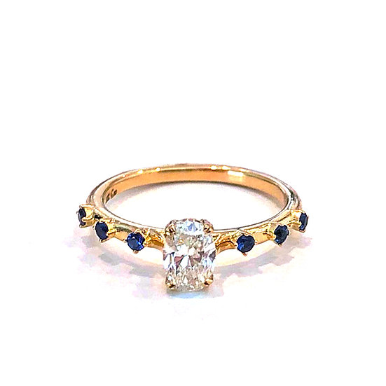 Bespoke Oval Diamond Engagement Ring with Round Sapphire Sprinkle on Delicate 18k Yellow Gold Band