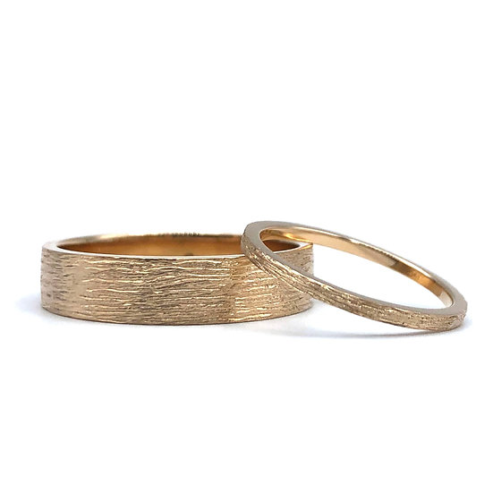 Custom Rustic Wedding Bands in 18k Recycled Rose Gold