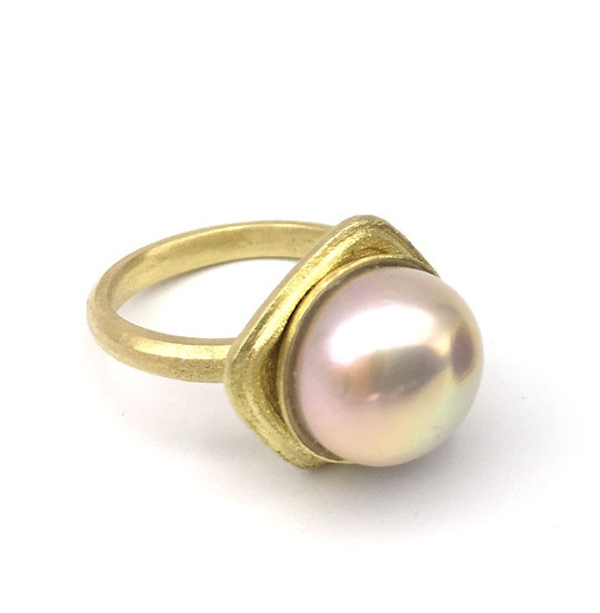 Azores Collection Pink Fresh Water Pearl Cocktail Ring in 18k Recycled Yellow Gold