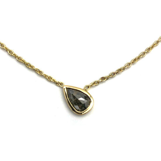 Asymmetrical Rose-cut Pear-Shaped Black Diamond Necklace in 14k Recycled Yellow Gold