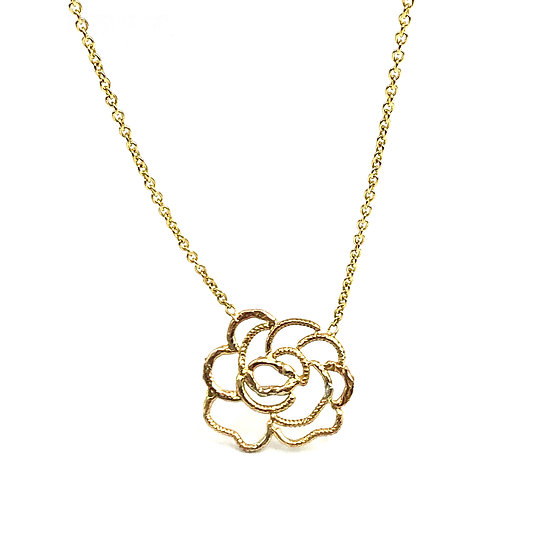 Rose Necklace in 14k Yellow Gold; Heirloom Jewelry Redesign