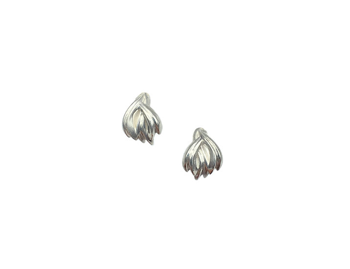 Terrace Weave Stud Huggie Earrings in Sterling Silver, Front View