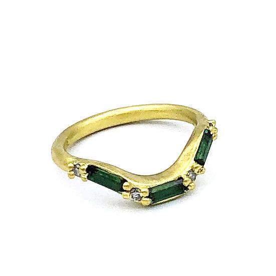 Bespoke Green Tourmaline and Gray Diamond U-Shaped Wedding Band in 18k Recycled Yellow Gold