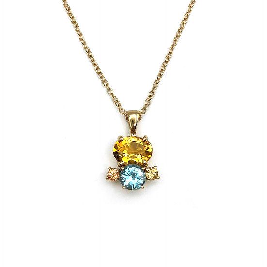 Bespoke Birthstone Pendant with Citrine, Topaz, and Sapphire in 14k Gold, Mothers Day Gift