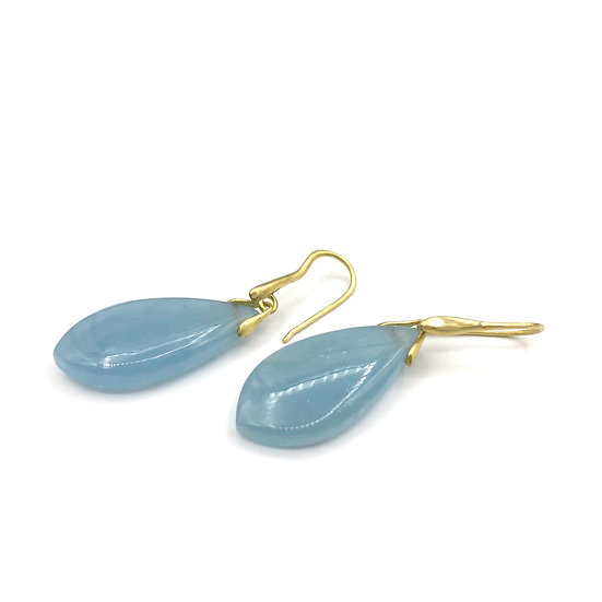 Aquamarine Trapeze Dangle Earrings | 18k Recycled Yellow Gold