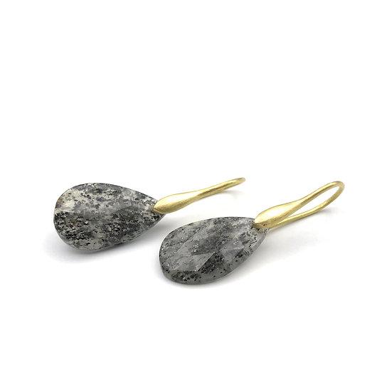 Black Sunstone Teardrop Earrings | 18k Recycled Yellow Gold