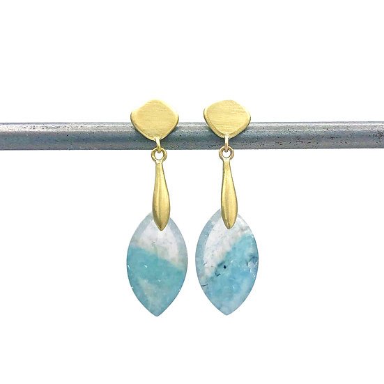 Gilalite Quartz Dangle Earring in 18k Recycled Yellow Gold, Blue and White Earring