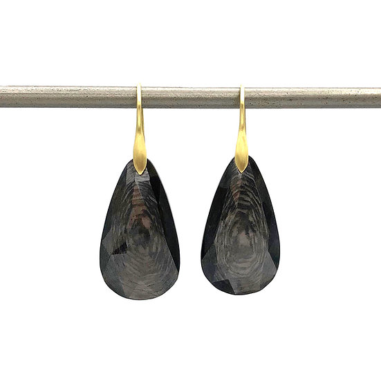 Enstatite (Hypersthene) Teardrop Earrings   18k Yellow Gold