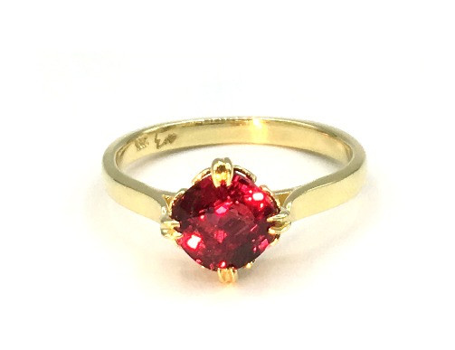 Custom Engagement Ring in 18k Yellow Gold with Cushion Cut Mozambique Ruby