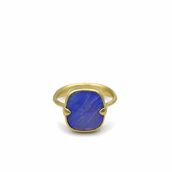 Square Blue Opal Amazon Ring | 18k Yellow Gold