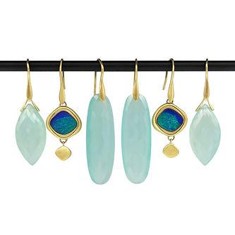 Chacedony and Australian Blue Opal Earrings.jpg
