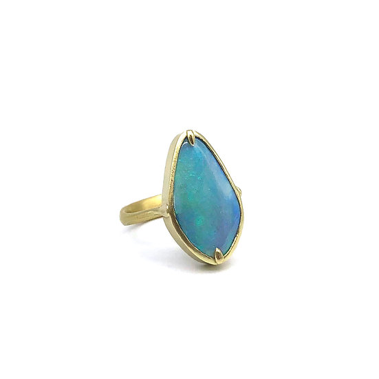 Teal Lozenge Australian Blue Opal Ring in 18k Recycled Yellow Gold