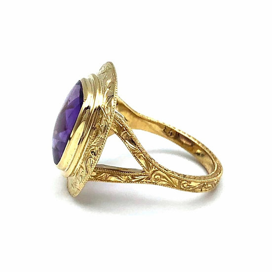 Heirloom Jewelry Redesign with Amethyst Pin Turned Hand Engraved Ring
