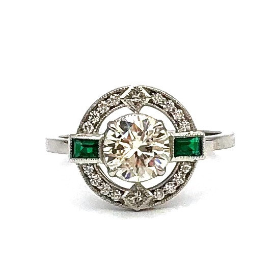 Bespoke Deco-Inspired Engagement Ring with Offset Diamond and Emerald Halo In Platinum Using Heirloom Diamond