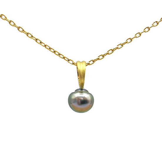 Black Tahitian Pearl Ring Pendant | 18k Recycled Yellow Gold