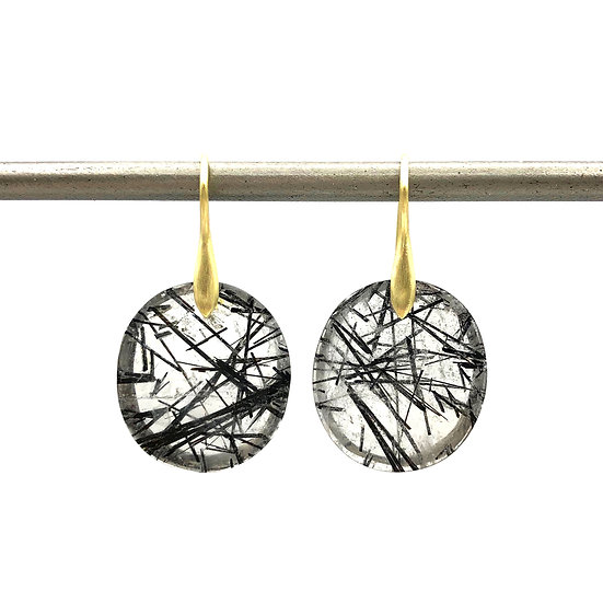Tourmalinated Quartz Circle Earrings | 18k Yellow Gold