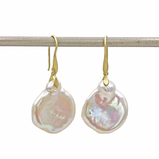Beauty Mark Pearl Coin Trapeze Earrings | 18k Yellow Gold