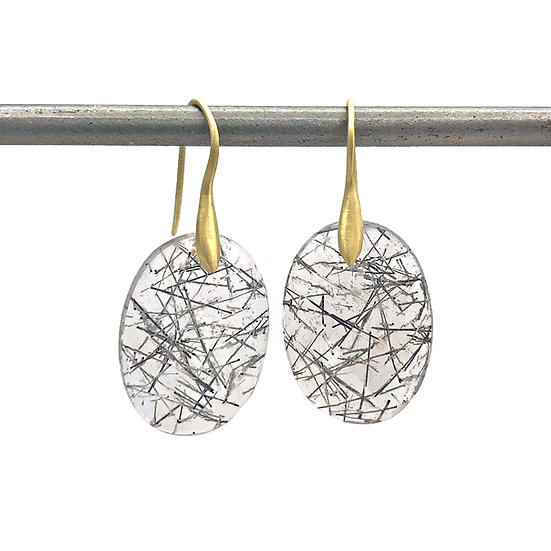 Oval Rosecut Tourmalinated Quartz Earring in 18k Recycled Yellow Gold