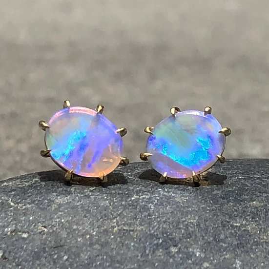 Custom Oval Australian Blue Opal Stud Earrings with 8-Prong Detail in 18k Recycled Yellow Gold