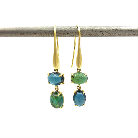 Blue and Green Asymmetrical Tourmaline Cabochon Drop Earrings in 18k Recycled Yellow Gold
