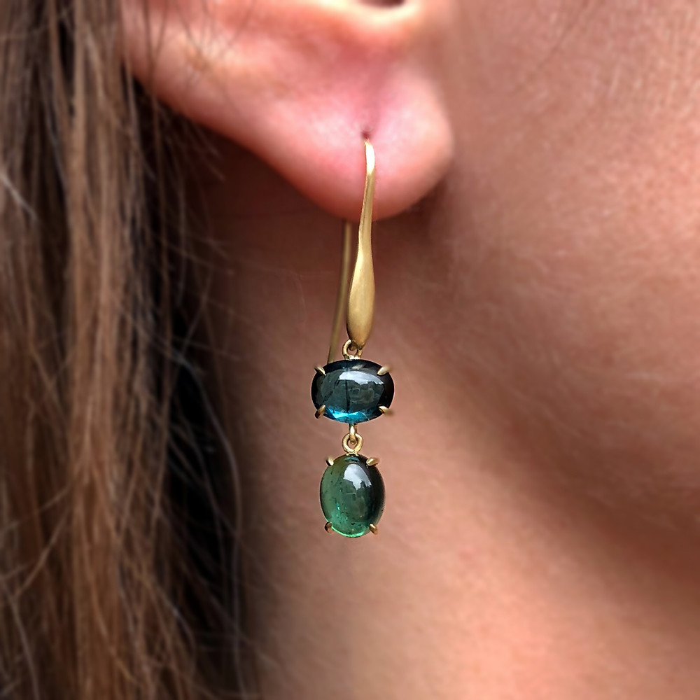 Jungle Tourmaline Earrings | 18k Yellow Gold