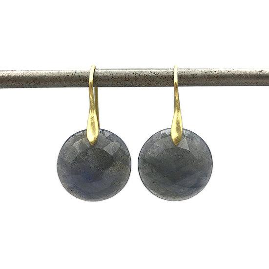 Rose Cut Labradorite Circle Earrings in 18k Recycled Yellow Gold